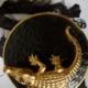 Candle krokodil van Limoges porselein met handgemaakte vergulde details 35 branduur H9 | B11