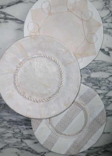 Set (3) borden rond papier & raffia & koord Zuid-Afrikaanse kunstenaar TLL